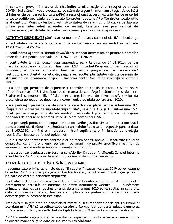 Apia COMUNICAT DE PRESĂ Continuitate în adoptarea de măsuri necesare pentru prevenirea COVID-19