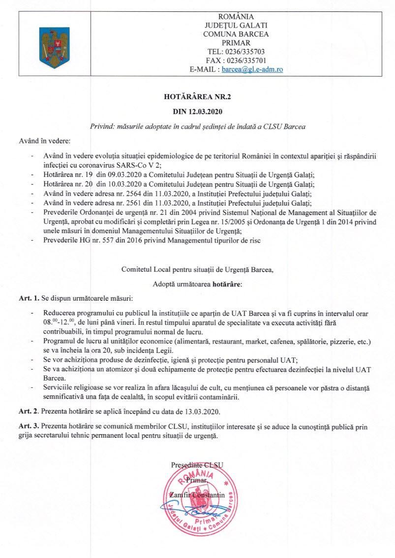 HCL nr.2 din 12.03.2020 privind masurile adoptate in cadrul sedintei de indata a CLSU Barcea