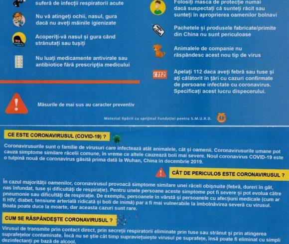 CORONAVIRUS 10 Reguli de urmat
