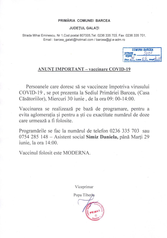 Anunt vaccinare COVID-19