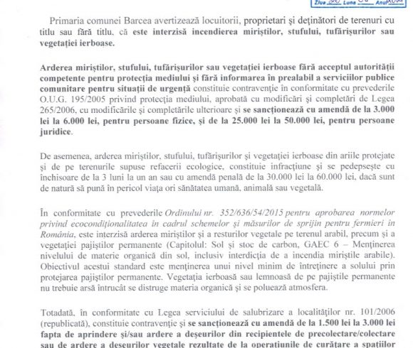 20.08.2021 Informare interzicere incendiere miristi, stuf, tufaris, vegetatie ierboasa
